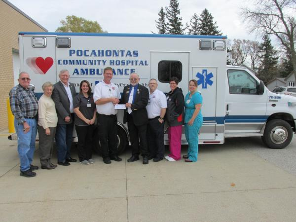 Eagles #3369 donated $1,000 to the PCH Ambulance Department