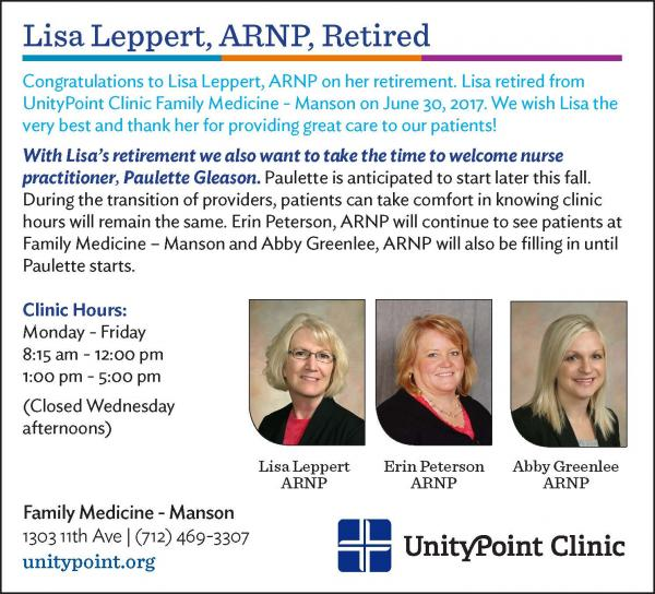 UnityPoint Clinic Family Medicine – Manson Announces Nurse Practitioner,  Lisa Leppert's Retirement