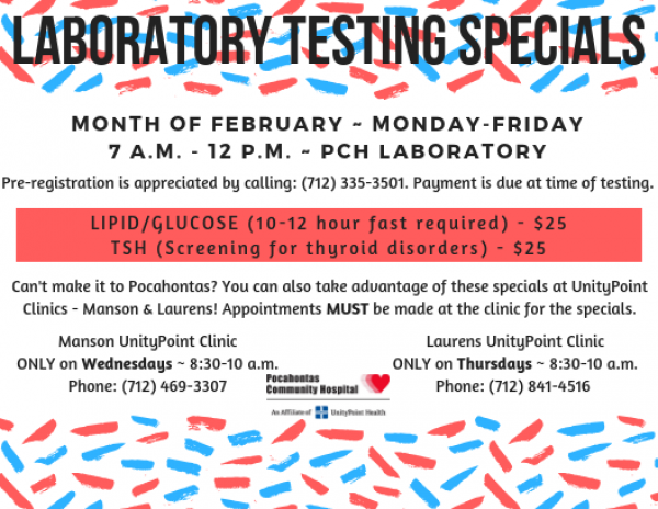 February Lab Testing Specials