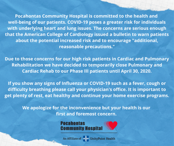Announcement from Cardiac & Pulmonary Rehab